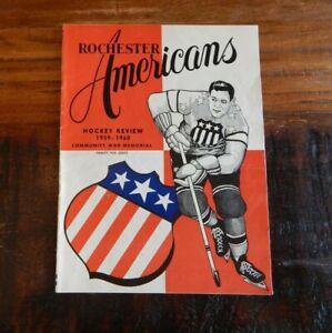 1959-60 ROCHESTER AMERICANS-CLEVELAND BARONS AHL AMERICAN HOCKEY LEAGUE PROGRAM