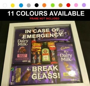 IN CASE EMERGENCY BREAK GLASS Sticker Decal Gift CHRISTMAS for Box frame Kmart
