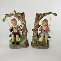 "Vintage Girl and Boy Figurines on Tree Swings 9"" Ceramic"