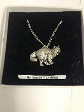 "Birman Cat PP-C05 Emblem on Silver Platinum Plated Necklace 18"""