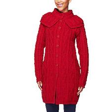 Aran Craft - Merino Wool Button Front Long Cardigan with Capelet - Garnet
