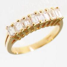 Ladies 14k Yellow Gold Emerald Cut Cubic Zirconia Anniversary Band Estate Ring