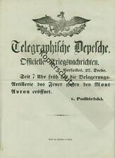 Original télégramme dépêche officielle guerre messages 1870/71 guerre 2712
