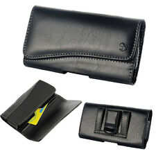For Moto G4 (4th Gen) Executive Black Leather Pouch Wallet Cover Case Holster