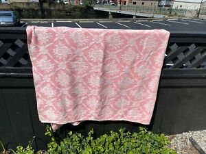 """BATES PINK/ wh FLOWERS 76x82"""" COTTON vint JACQUARD blanket COVERLET SPREAD THROW"""