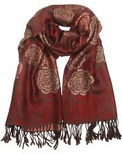 ConMiGo Reversible Oversized Flora Scarf/Shawl - Red and Beige