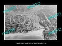 OLD LARGE HISTORIC PHOTO OF MANLY SYDNEY NSW AERIAL VIEW OF THE BEACH c1950
