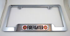 Firefighter ABS Chrome Plated License Plate Frame free caps and washers