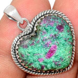 Heart - Ruby In Kyanite 925 Sterling Silver Pendant Jewelry BP82029