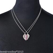 Neu Halskette Freundschaftskette Best Friends Anhänger Herz 2Kette Strass