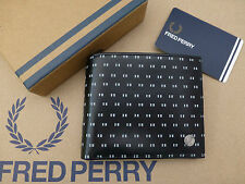 FRED PERRY Coin Wallet Black TIPPED PRINT Billfold Leather Wallets Boxed New