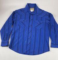 Wrangler Western Shirt Sz L Blue Shiny 100% Cotton L/S Pearl Snap Button Shirt