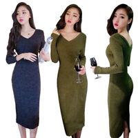Women V-neck Ribbed Knit Long Sleeve Bodycon Midi Dress Party Dresses Clubwear