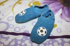 Kinder Krabbelschuhe Krabbelpuschen Hausschuhe Leder Gr. 28-29 blau Fußball