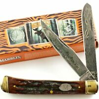 Marbles Etched Damascus Stag Bone Handles Trapper Pocket Knife MR267