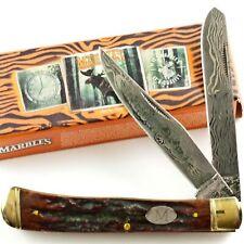Marbles Etched Damascus Stag Bone Handles Trapper Pocket Knife MR267