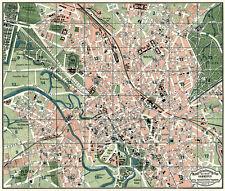 Hannover Historical City Map from 1922 Vintage Print Poster (Han:s Tageblatt)