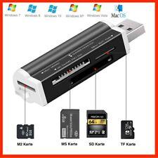 Kartenlesegerät MINI Kartenleser Card Reader Micro SD MMC M2 USB Stick Schwarz
