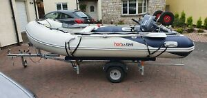 Honwave 3.5m T35 AE & 4hp Yamaha four stroke  Inflatable boat dingy SIB+ trailer