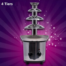 Chocolate Fondue Fountain 4 Tier Stainless Steel Base Fountains New