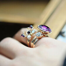 3pcs/set Butterfly Stack Band Midi Finger Knuckle Rings Purple Stone Ring Set