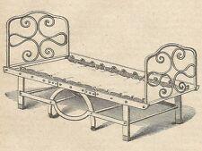 A4109 Letto in ferro - Incisione - Stampa Antica del 1889