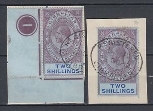 GIBRALTAR 1912, KING GEORGE V, 2 USED 2 SHILLINGS STAMPS ON PIECES