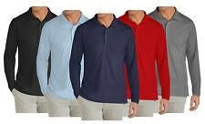Mens Long Sleeve Long-Tail Polo Shirt Modern Fit Casual Cotton Blend Button NWT