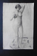FRENCH SCHOOL 19thC - SUPERB STUDY FEMALE NUDE MONOGR. AS - CHARCOAL DRAWING
