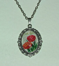 Rojo Tulipán Flor de cristal camafeo Oscuro Plateado Colgante Filigrana Estilo Victoriano