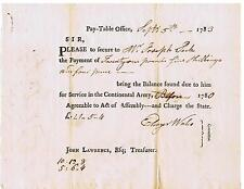 Revolutionary War Pay Order, Sept. 5, 1783, For Service in the Continental Army