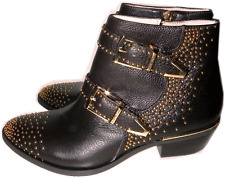 Vince Camuto Tema Brown Leather Boots Flat Riding Buckle Gold Studded Booties 6