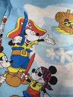 Disney Friends Twin Flat Sheet Vintage 1970s Pirate MICKEY Mouse Fabric