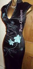 FAB ❤️  JANE NORMAN Wiggle black & Turquoise Satin Oriental Chinese Size 10 12