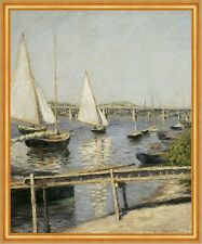 Sailing Boats at Argenteuil Gustave Caillebotte Segelboote Brücke B A1 02161