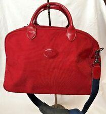 Longchamp RED leather TRIM shoulder tote bag TRAVELER WEEKENDER France EXCELLENT