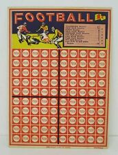 Football gambling punchboard trade stimulator card 1940's country store