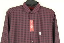 Alfani Men's Fitted Performance Spiced Wine Gingham Dress Shirt Size M 15