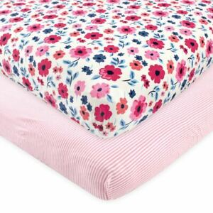 Touched by Nature Organic Cotton Fitted Crib Sheet 2-Pack, Garden Floral, One Si