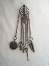 ANTIQUE GEORGIAN STEEL CHATELAINE WITH 6 CHAINS & IMPLEMENTS CIRCA 1800