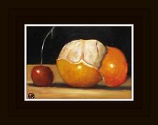 Pealed Satsuma and Cherry : Original Oil Painting by Natasha Arnold