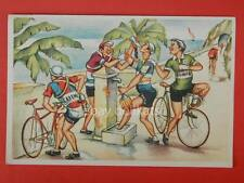 Ciclismo cilisti bicicletta vintage cycling vecchia cartolina fontana vino
