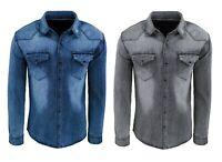 Camicia di Jeans uomo Blu Grigio denim casual cotone slim fit tg XS S M L XL XXL
