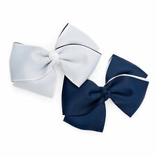 NEW 2pc HAIR BOW CLIP SET 11cm NAVY BLUE & WHITE FORMAL ACCESSORY NAUTICAL STYLE