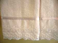 ORGANZA LACE Fingertip or Guest Towels (2) WHITE Cotton Velour NEW by UtaLace