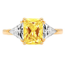 3 Emerald Trillion 3stone Yellow Stone Promise Wedding Ring 14k Yellow Gold