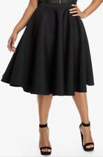 Fashion To Figure Women's Plus Size 1 1X 14 16 Midi Circle Scuba Skirt Black
