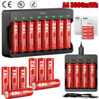 EBL AA Rechargeable Lithium Li-ion Batteries 1.5V 3000mWh / Battery Charger Lot