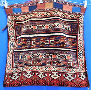 Antique Persian Hand Woven Kilim Pile Wool Tribal Textile Single Camel Saddlebag