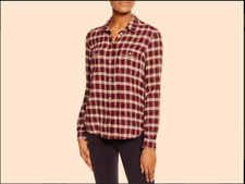 PAIGE Premium Designer Denim Jeans Red Plaid Shirt Top Size M 10
